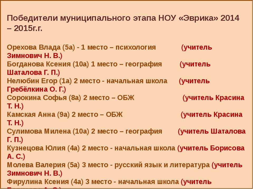 Победители муниципального этапа НОУ «Эврика» 2014 – 2015г.г. Орехова Влада (...