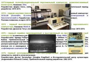 1973-первый полнофункциональный персональный компьютер, укомплектованный мони