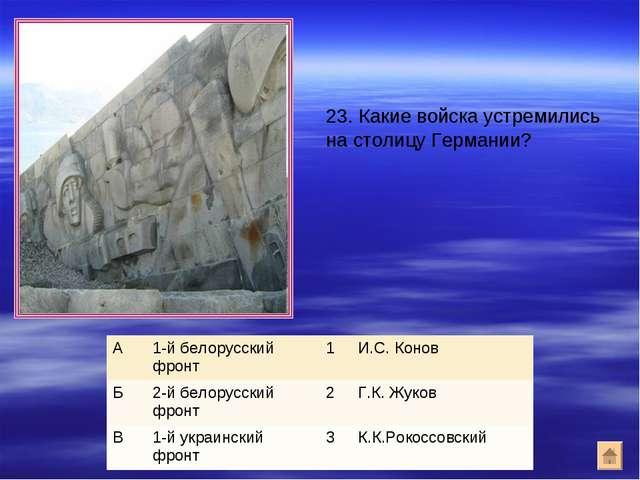 23. Какие войска устремились на столицу Германии? А1-й белорусский фронт1И...