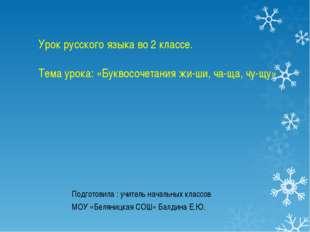 Урок русского языка во 2 классе. Тема урока: «Буквосочетания жи-ши, ча-ща, чу