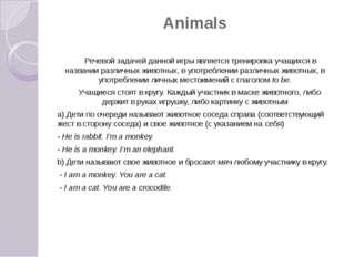 Animals Речевой задачей данной игры является тренировка учащихся в названии р