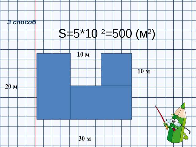 S=5*10 2=500 (м2) 20 м 30 м 10 м 10 м 3 способ