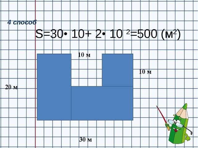 S=30• 10+ 2• 10 2=500 (м2) 20 м 30 м 10 м 10 м 4 способ