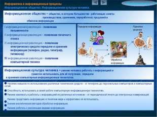 Информатика и информационные процессы Информационное общество. Информационная