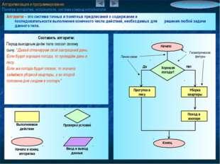 Алгоритмизация и программирование Понятие алгоритма, исполнители, система ком