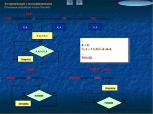 Алгоритмизация и программирование Основные операторы языка Паскаль Информатик