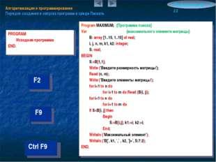 Алгоритмизация и программирование Порядок создания и запуска программ в среде
