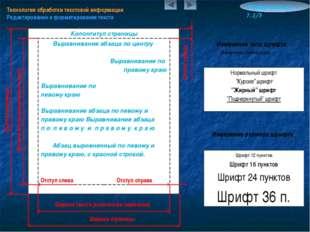 Технология обработки текстовой информации Редактирование и форматирование тек