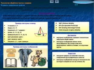 Примеры векторных изображений: Технология обработки текста и графики Форматы