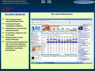 Компьютерные коммуникации Публикация в Интернете. Web-сайт Информатика 7.6/9
