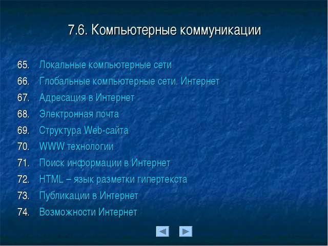 7.6. Компьютерные коммуникации Локальные компьютерные сети Глобальные компьют...
