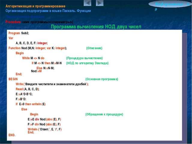 Алгоритмизация и программирование Организация подпрограмм в языке Паскаль. Фу...