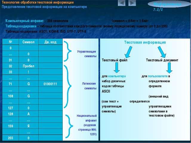 Технология обработки текстовой информации Представление текстовой информации...