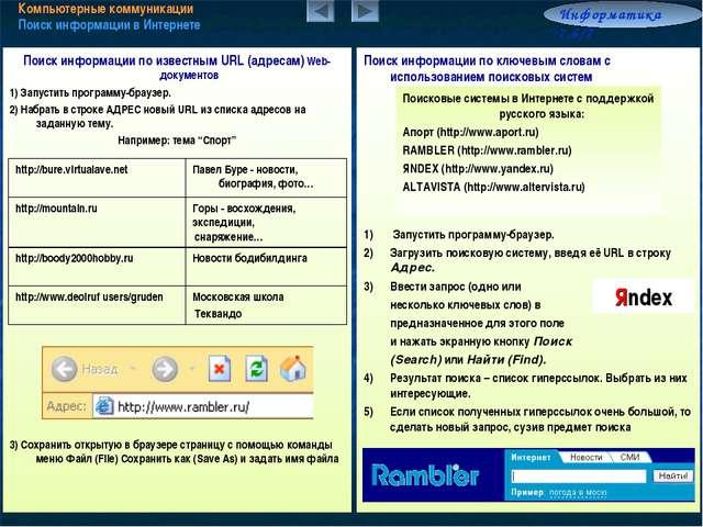 Компьютерные коммуникации Поиск информации в Интернете Информатика 7.6/7 Поис...