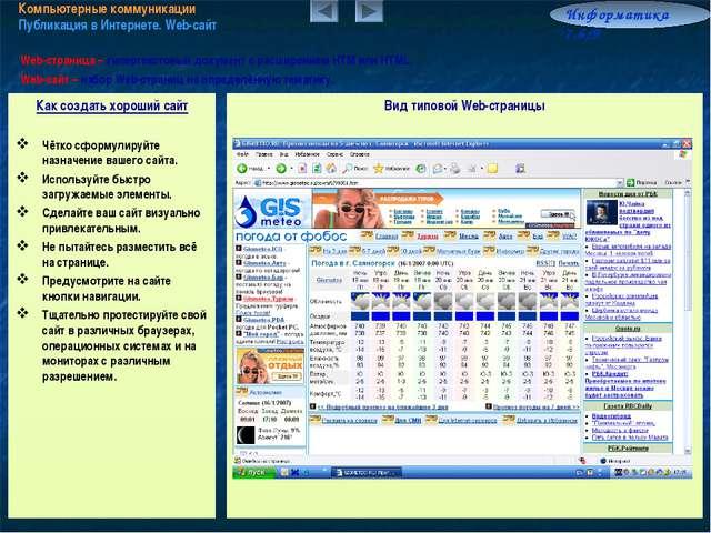 Компьютерные коммуникации Публикация в Интернете. Web-сайт Информатика 7.6/9...