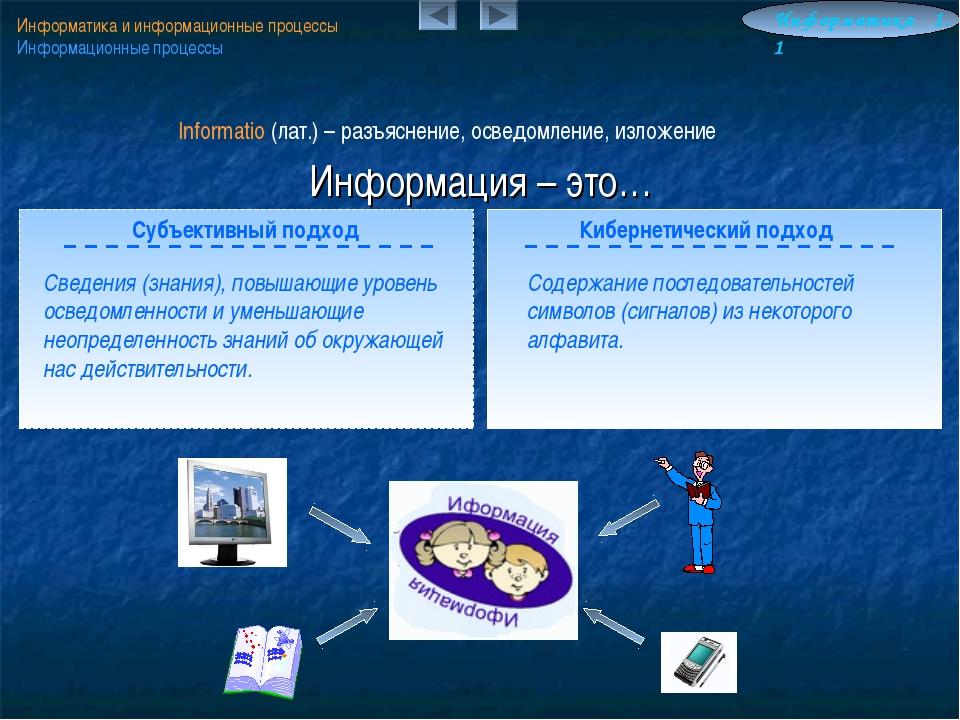 Информация – это… Информатика и информационные процессы Информационные процес...