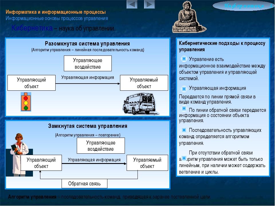 Информатика и информационные процессы Информационные основы процессов управле...