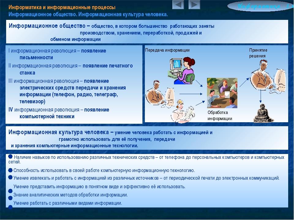 Информатика и информационные процессы Информационное общество. Информационная...