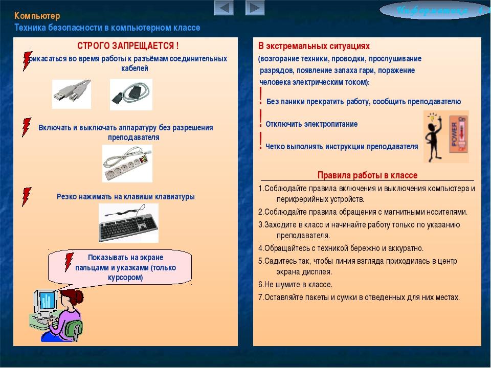 Компьютер Техника безопасности в компьютерном классе Информатика 4.10 СТРОГО...