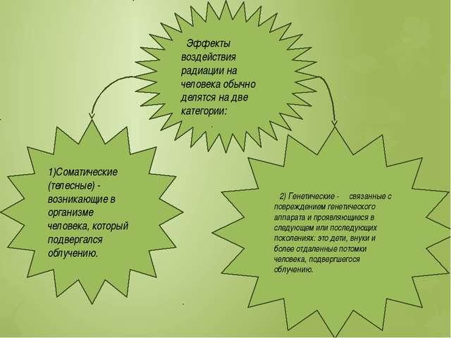 Эффекты воздействия радиации на человека обычно делятся на две категории: 1)...