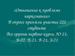 «Отношение к проблеме наркомании» В опросе приняли участие 222 студента Все г
