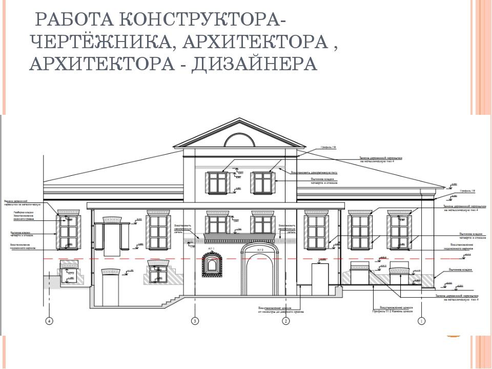РАБОТА КОНСТРУКТОРА-ЧЕРТЁЖНИКА, АРХИТЕКТОРА , АРХИТЕКТОРА - ДИЗАЙНЕРА