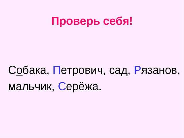 Проверь себя! Собака, Петрович, сад, Рязанов, мальчик, Серёжа.