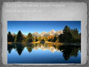 2013 год объявлен годом охраны окружающей среды.