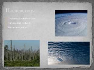 Проблема озонового слоя. Парниковый эффект. Кислотные дожди. Последствия: