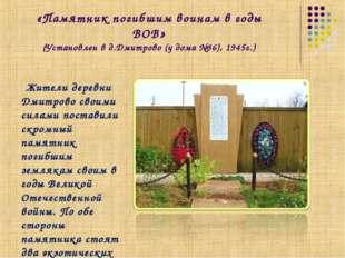 «Памятник погибшим воинам в годы ВОВ» (Установлен в д.Дмитрово (у дома №36),