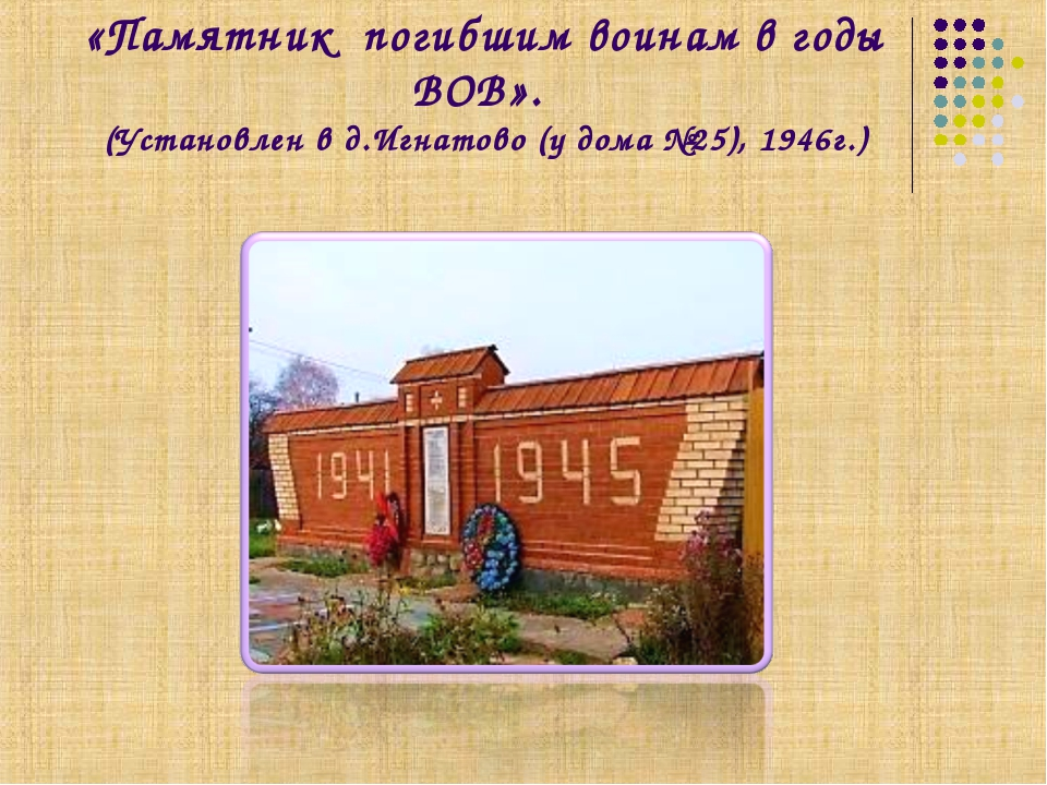 «Памятник погибшим воинам в годы ВОВ». (Установлен в д.Игнатово (у дома №25),...