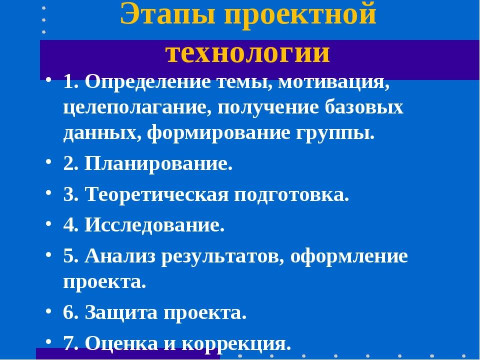 Этапы проектной технологии 1. Определение темы, мотивация, целеполагание, пол...