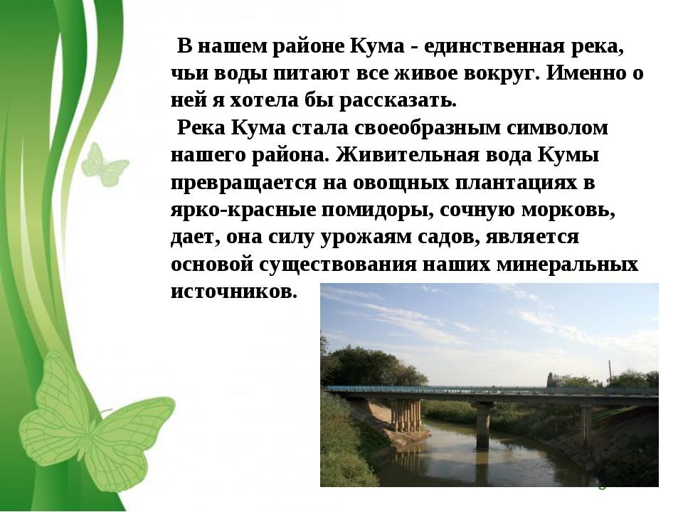 В нашем районе Кума - единственная река, чьи воды питают все живое вокруг. Им...