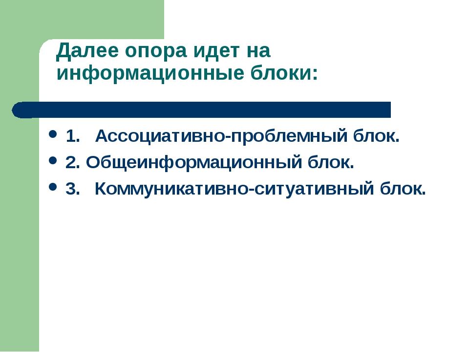 Далее опора идет на информационные блоки: 1.Ассоциативно-проблемный блок. 2....