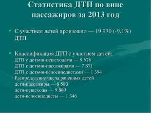 Статистика ДТП по вине пассажиров за 2013 год Сучастием детей произошло— 19