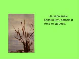 Не забываем обозначить землю и тень от дерева.