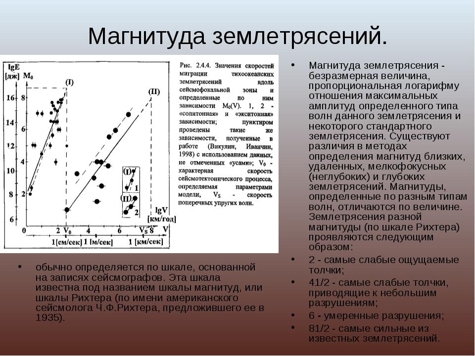 Магнитуда землетрясений. обычно определяется по шкале, основанной на записях...