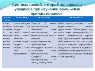 Система знаний, которой овладевают учащиеся при изучении темы «Имя прилагател