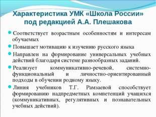 Характеристика УМК «Школа России» под редакцией А.А. Плешакова Соответствует