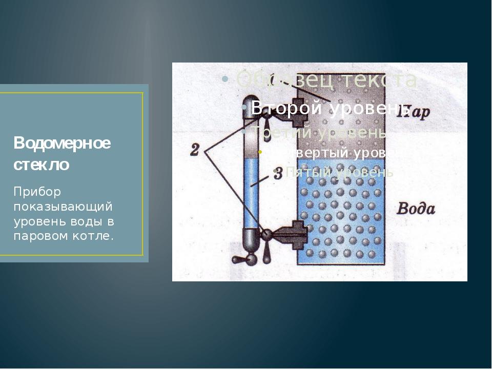 Водомерное стекло Прибор показывающий уровень воды в паровом котле.