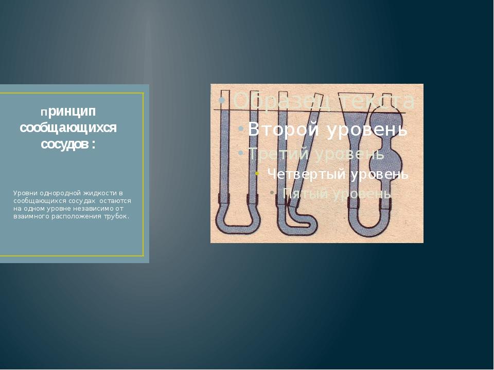 Принцип сообщающихся сосудов : Уровни однородной жидкости в сообщающихся сосу...