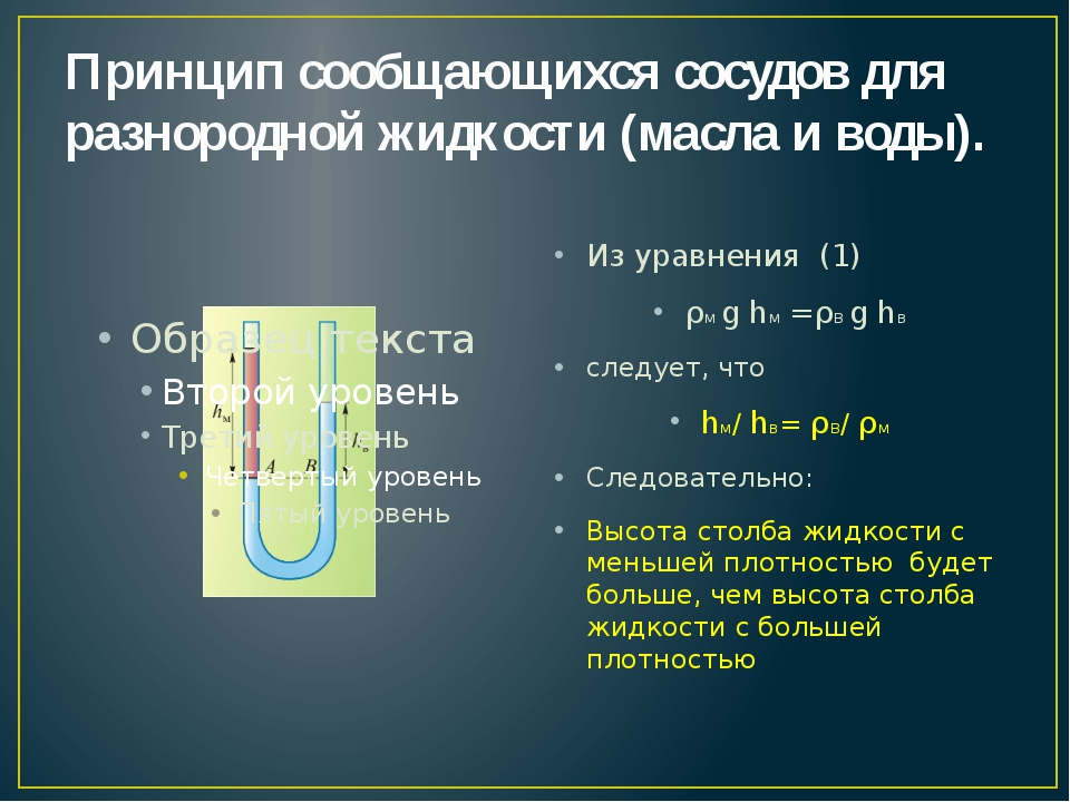 Принцип сообщающихся сосудов для разнородной жидкости (масла и воды). Из урав...