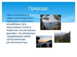 Природа. Здесь встречаются самые разнообразные природные комплексы: альпийски