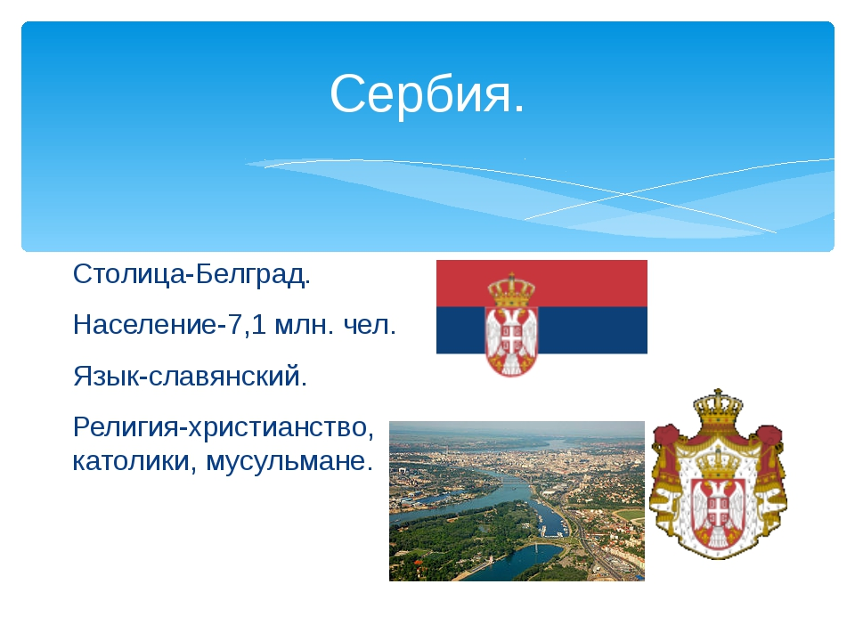 Сербия. Столица-Белград. Население-7,1 млн. чел. Язык-славянский. Религия-хри...