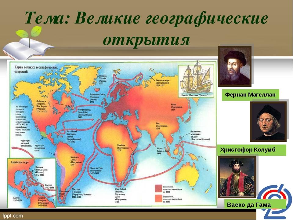 Тема: Великие географические открытия Фернан Магеллан Христофор Колумб Васко...