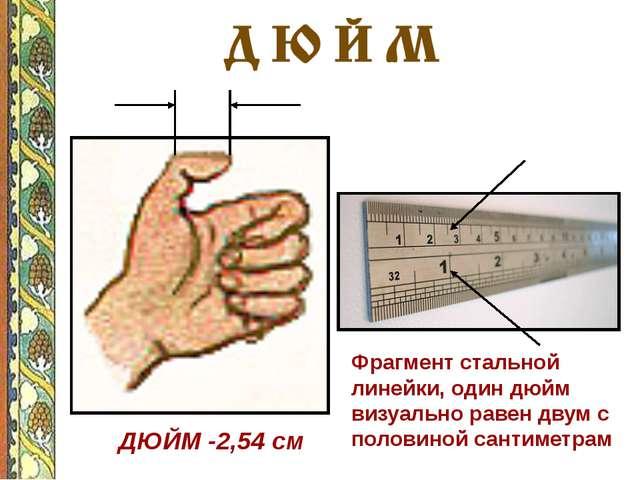 ДЮЙМ -2,54 см Фрагмент стальной линейки, один дюйм визуально равен двум с по...