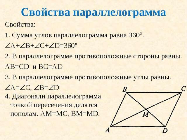 Свойства параллелограмма Свойства: Сумма углов параллелограмма равна 360. А...