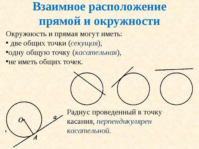 Взаимное расположение прямой и окружности Окружность и прямая могут иметь: дв...