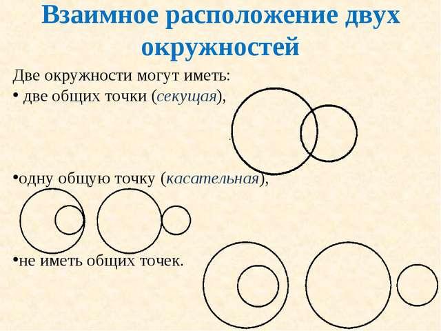 Взаимное расположение двух окружностей Две окружности могут иметь: две общих...