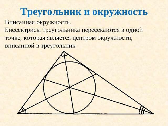 Треугольник и окружность Вписанная окружность. Биссектрисы треугольника перес...